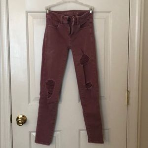 American eagle ponk ripped jeggings